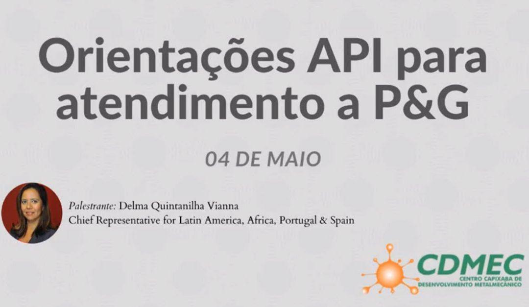 Orientações API para atendimento a P&G